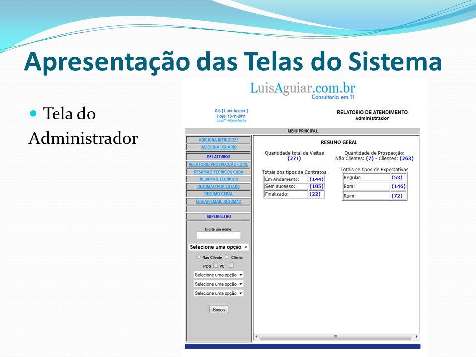 Tela do Técnico Apresentação das Telas do Sistema