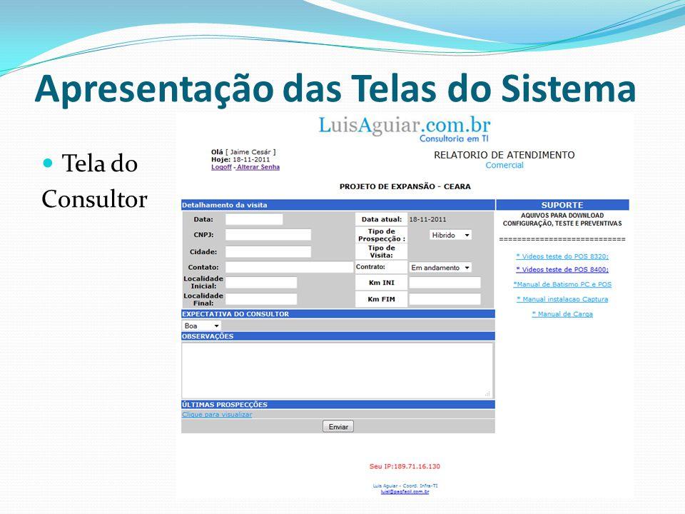 Listagem dos Atendimentos Do Consultor Apresentação das Telas do Sistema