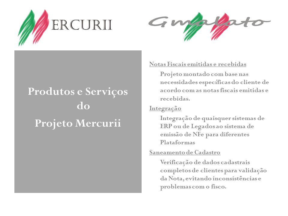 Produtos e Serviços do Projeto Mercurii Notas Fiscais emitidas e recebidas Projeto montado com base nas necessidades específicas do cliente de acordo com as notas fiscais emitidas e recebidas.
