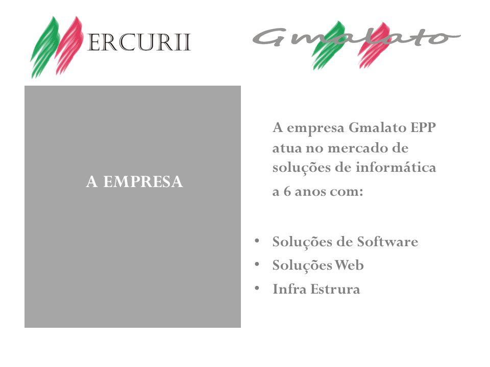 A EMPRESA A empresa Gmalato EPP atua no mercado de soluções de informática a 6 anos com: Soluções de Software Soluções Web Infra Estrura