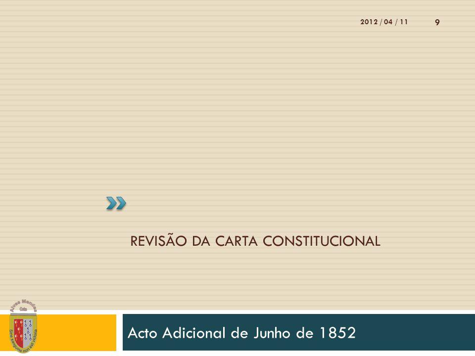 REVISÃO DA CARTA CONSTITUCIONAL Acto Adicional de Junho de 1852 2012 / 04 / 11 9