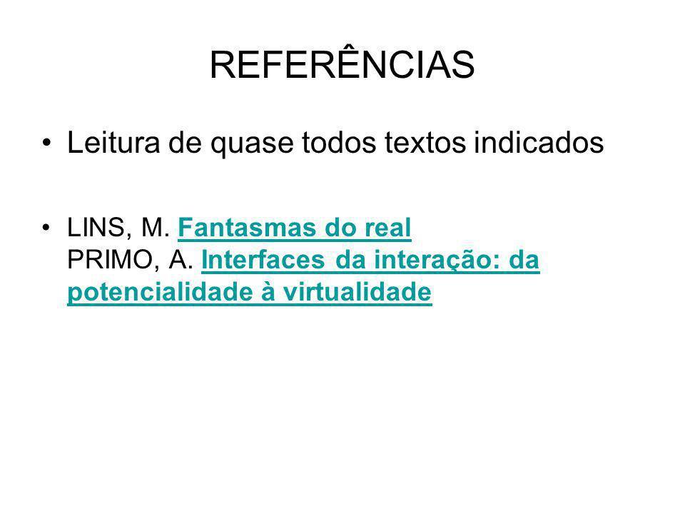 REFERÊNCIAS Leitura de quase todos textos indicados LINS, M.