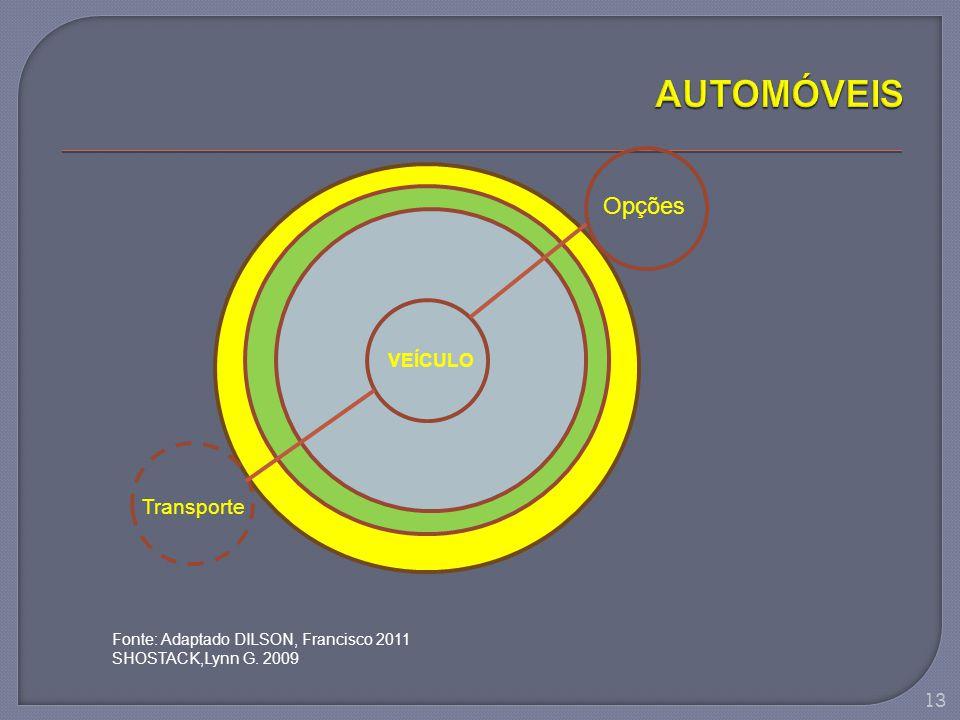 VEÍCULO Opções Transporte Fonte: Adaptado DILSON, Francisco 2011 SHOSTACK,Lynn G. 2009 13