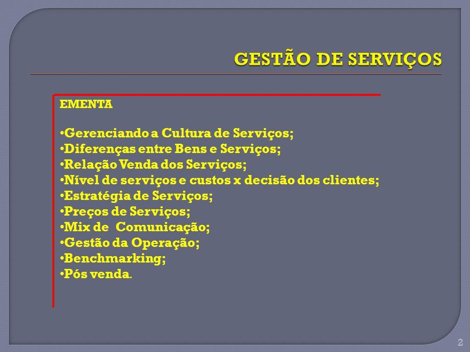EMENTA Gerenciando a Cultura de Serviços; Diferenças entre Bens e Serviços; Relação Venda dos Serviços; Nível de serviços e custos x decisão dos clientes; Estratégia de Serviços; Preços de Serviços; Mix de Comunicação; Gestão da Operação; Benchmarking; Pós venda.