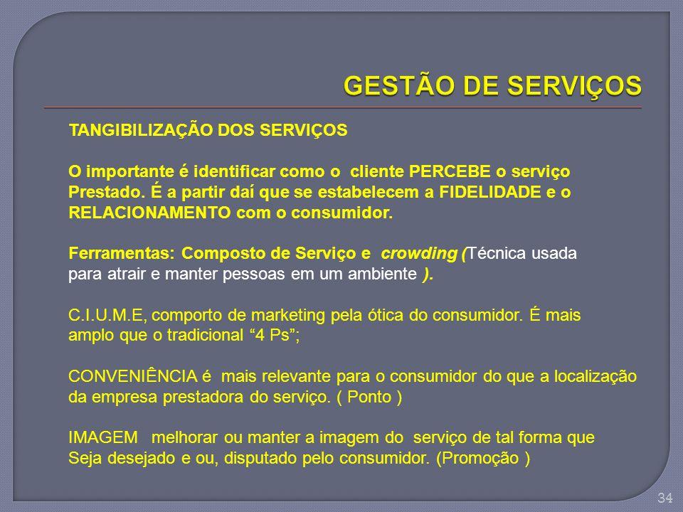34 TANGIBILIZAÇÃO DOS SERVIÇOS O importante é identificar como o cliente PERCEBE o serviço Prestado. É a partir daí que se estabelecem a FIDELIDADE e