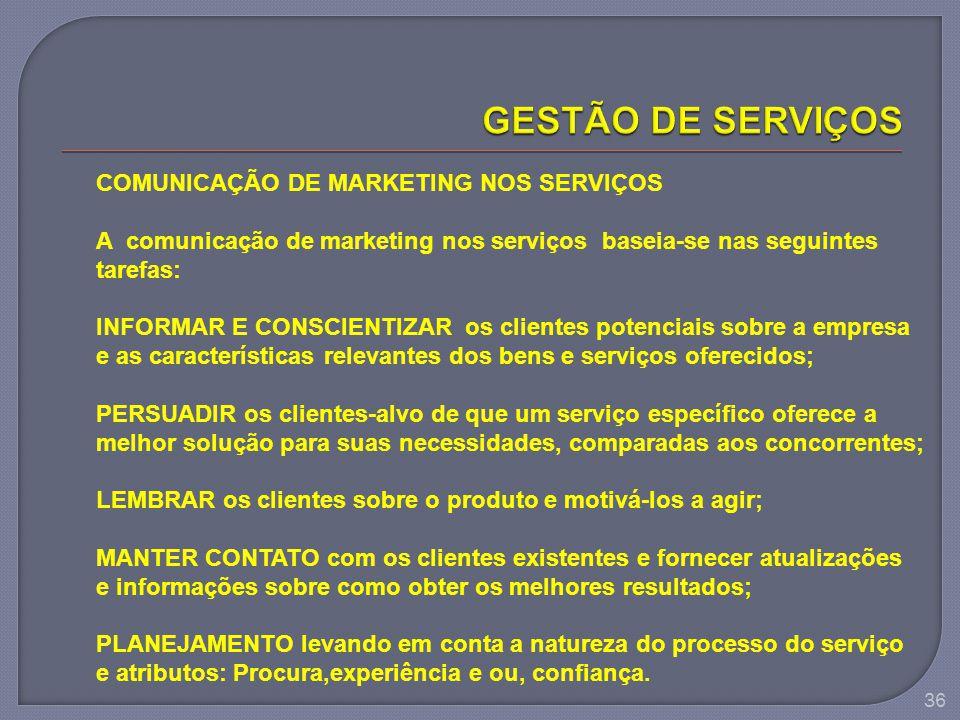 36 COMUNICAÇÃO DE MARKETING NOS SERVIÇOS A comunicação de marketing nos serviços baseia-se nas seguintes tarefas: INFORMAR E CONSCIENTIZAR os clientes