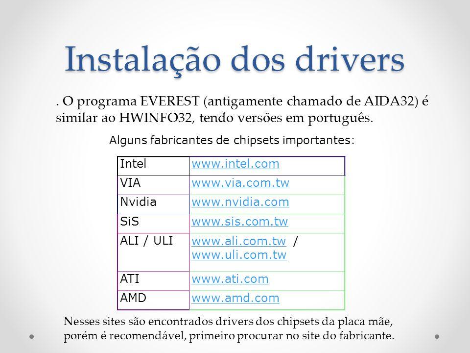 Instalação dos drivers Intelwww.intel.com VIAwww.via.com.tw Nvidiawww.nvidia.com SiSwww.sis.com.tw ALI / ULIwww.ali.com.twwww.ali.com.tw / www.uli.com.tw www.uli.com.tw ATIwww.ati.com AMDwww.amd.com Alguns fabricantes de chipsets importantes:.
