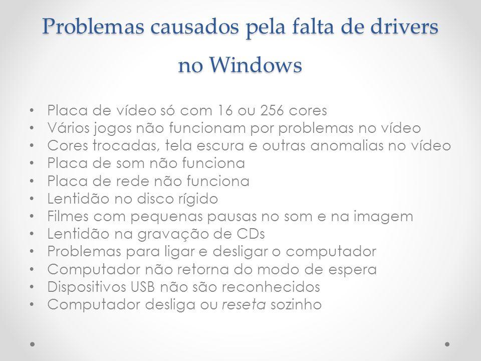 Problemas causados pela falta de drivers no Windows Placa de vídeo só com 16 ou 256 cores Vários jogos não funcionam por problemas no vídeo Cores troc