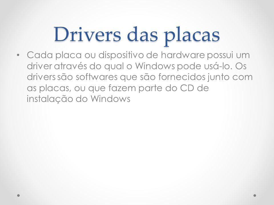 Drivers das placas Cada placa ou dispositivo de hardware possui um driver através do qual o Windows pode usá-lo.