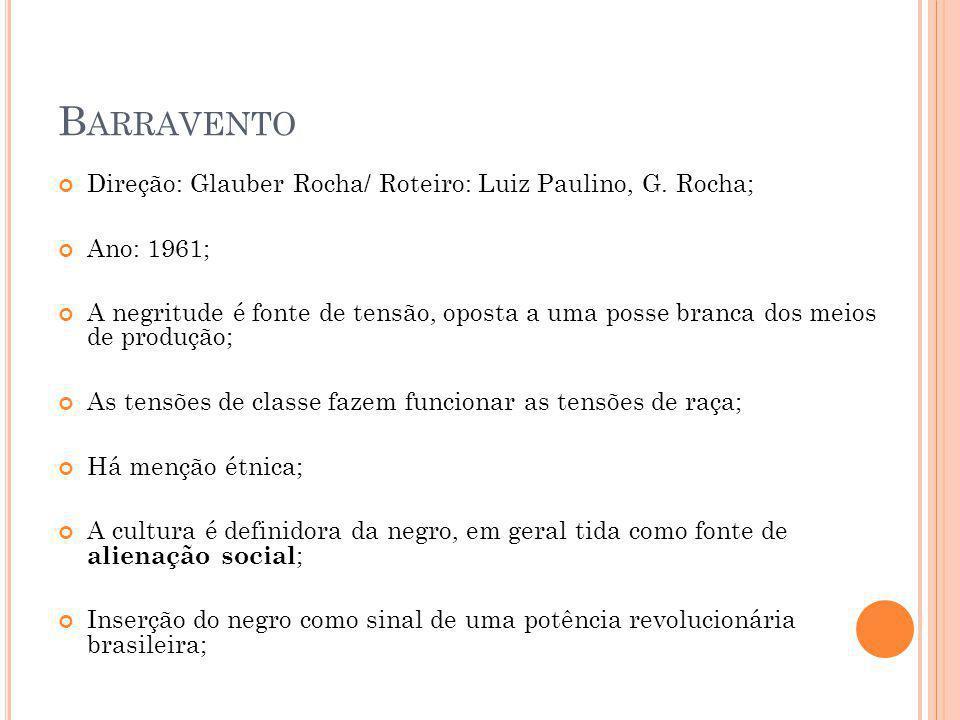 B ARRAVENTO Direção: Glauber Rocha/ Roteiro: Luiz Paulino, G.