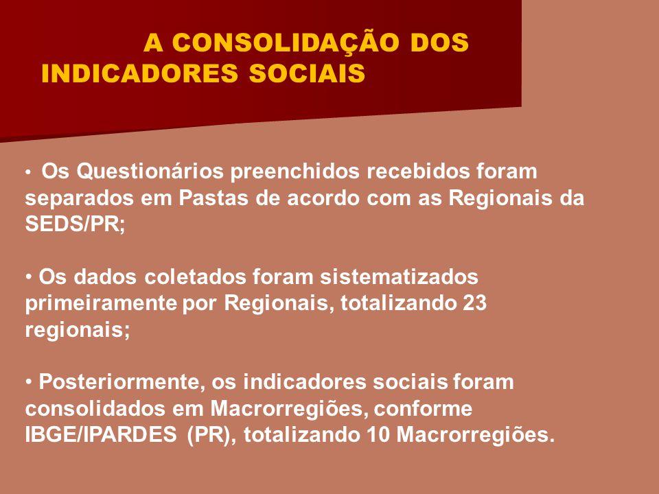 A CONSTRUÇÃO DO DIAGNÓSTICO SOCIAL Por fim, os Indicadores Sociais das Macrorregiões foram consolidados produzindo o Diagnóstico Social do Sistema de Garantia de Direitos do Estado do Paraná.