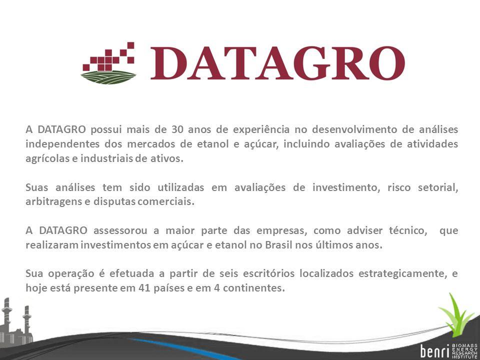 A DATAGRO possui mais de 30 anos de experiência no desenvolvimento de análises independentes dos mercados de etanol e açúcar, incluindo avaliações de