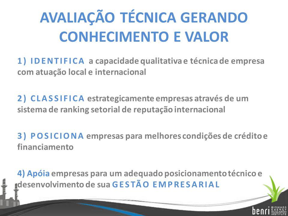 AVALIAÇÃO TÉCNICA GERANDO CONHECIMENTO E VALOR 1) IDENTIFICA a capacidade qualitativa e técnica de empresa com atuação local e internacional 2) CLASSI