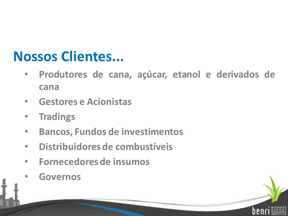 Nossos Clientes... Produtores de cana, açúcar, etanol e derivados de cana Gestores e Acionistas Tradings Bancos, Fundos de investimentos Distribuidore