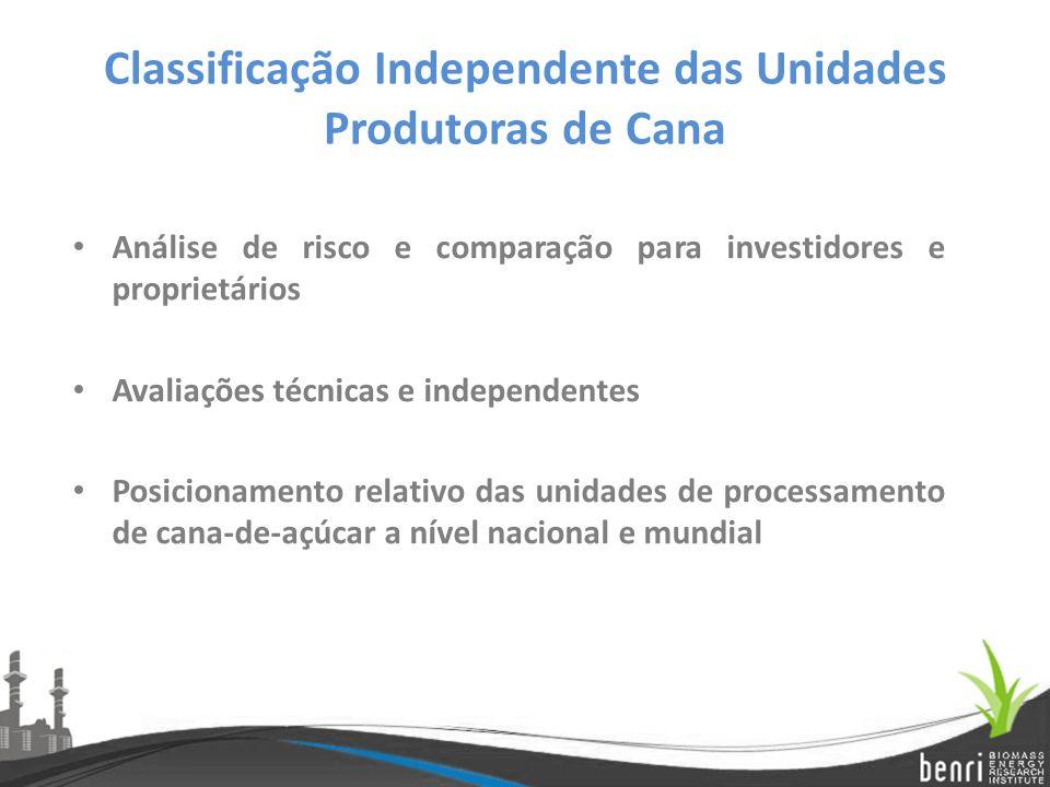 Classificação Independente das Unidades Produtoras de Cana Análise de risco e comparação para investidores e proprietários Avaliações técnicas e indep