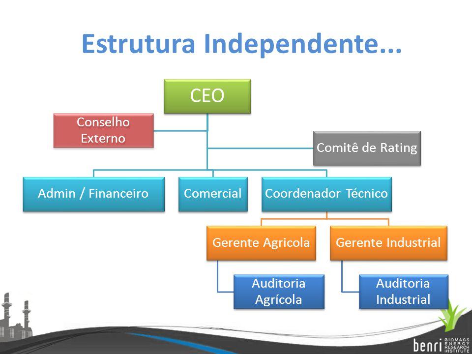 CEO Admin / FinanceiroComercialCoordenador Técnico Gerente Agricola Auditoria Agrícola Gerente Industrial Auditoria Industrial Conselho Externo Comitê