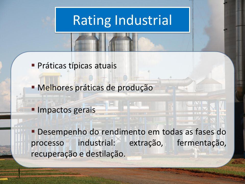 Rating Industrial  Práticas típicas atuais  Melhores práticas de produção  Impactos gerais  Desempenho do rendimento em todas as fases do processo