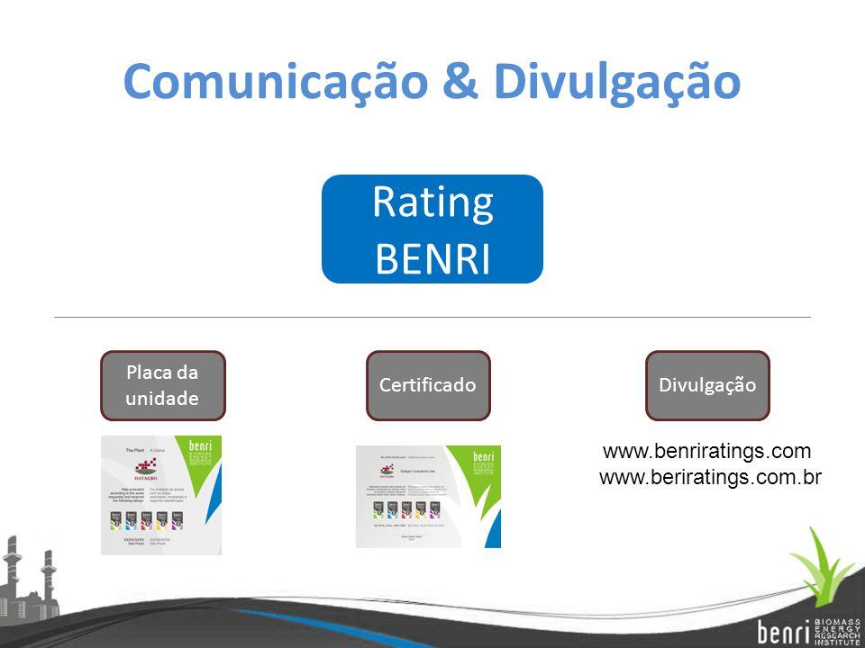 Comunicação & Divulgação Rating BENRI Certificado Placa da unidade Divulgação www.benriratings.com www.beriratings.com.br