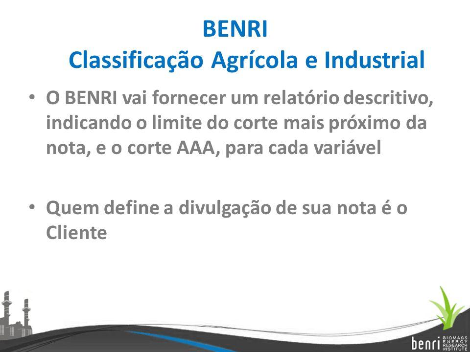 BENRI Classificação Agrícola e Industrial O BENRI vai fornecer um relatório descritivo, indicando o limite do corte mais próximo da nota, e o corte AA