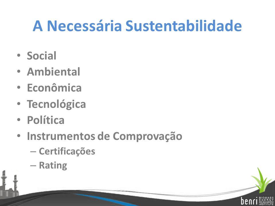 A Necessária Sustentabilidade Social Ambiental Econômica Tecnológica Política Instrumentos de Comprovação – Certificações – Rating