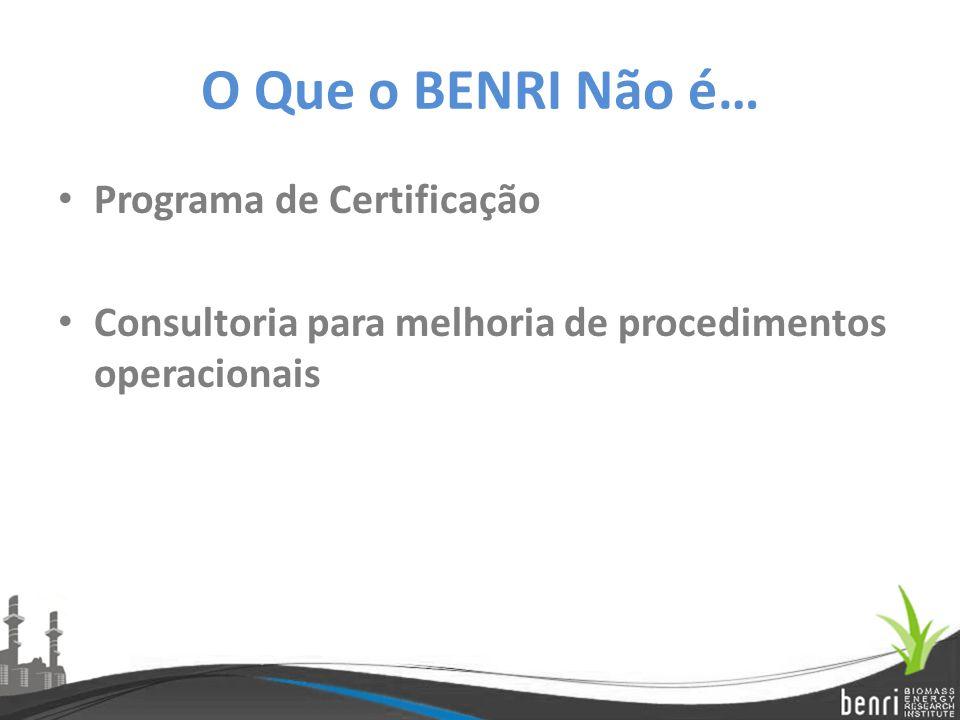O Que o BENRI Não é… Programa de Certificação Consultoria para melhoria de procedimentos operacionais