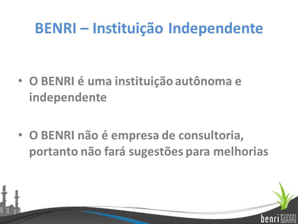 BENRI – Instituição Independente O BENRI é uma instituição autônoma e independente O BENRI não é empresa de consultoria, portanto não fará sugestões p