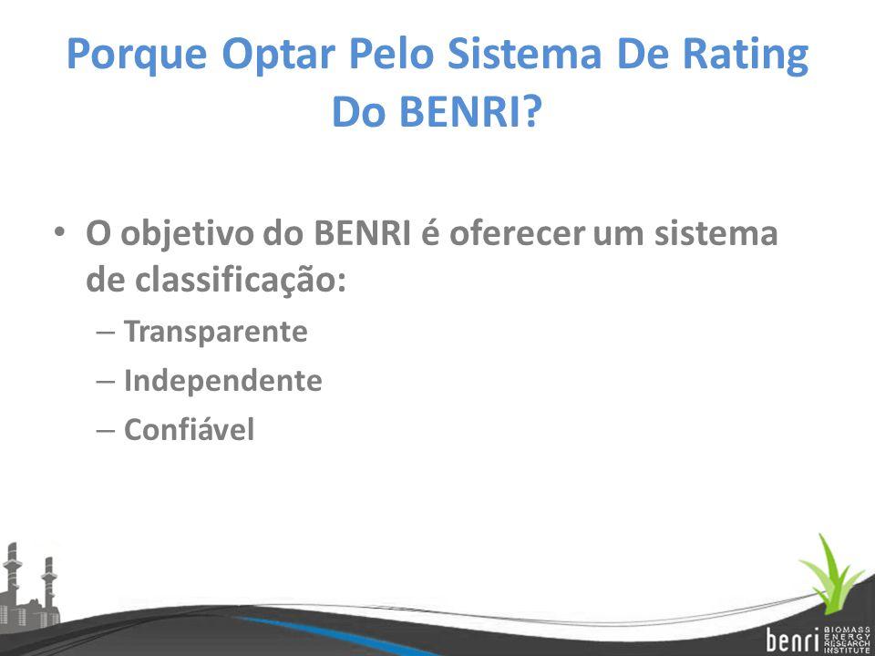 Porque Optar Pelo Sistema De Rating Do BENRI? O objetivo do BENRI é oferecer um sistema de classificação: – Transparente – Independente – Confiável