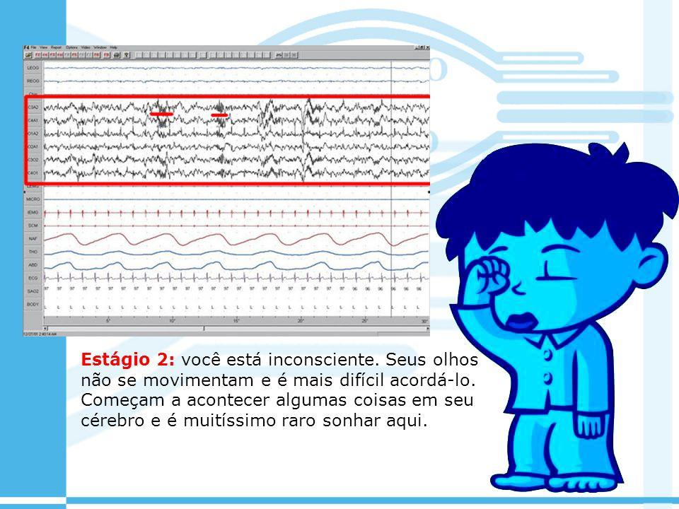 Estágio 2: você está inconsciente. Seus olhos não se movimentam e é mais difícil acordá-lo. Começam a acontecer algumas coisas em seu cérebro e é muit