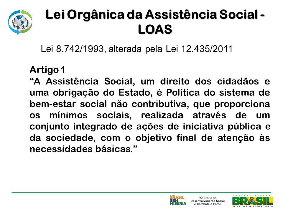 """Artigo 1 """"A Assistência Social, um direito dos cidadãos e uma obrigação do Estado, é Política do sistema de bem-estar social não contributiva, que pro"""
