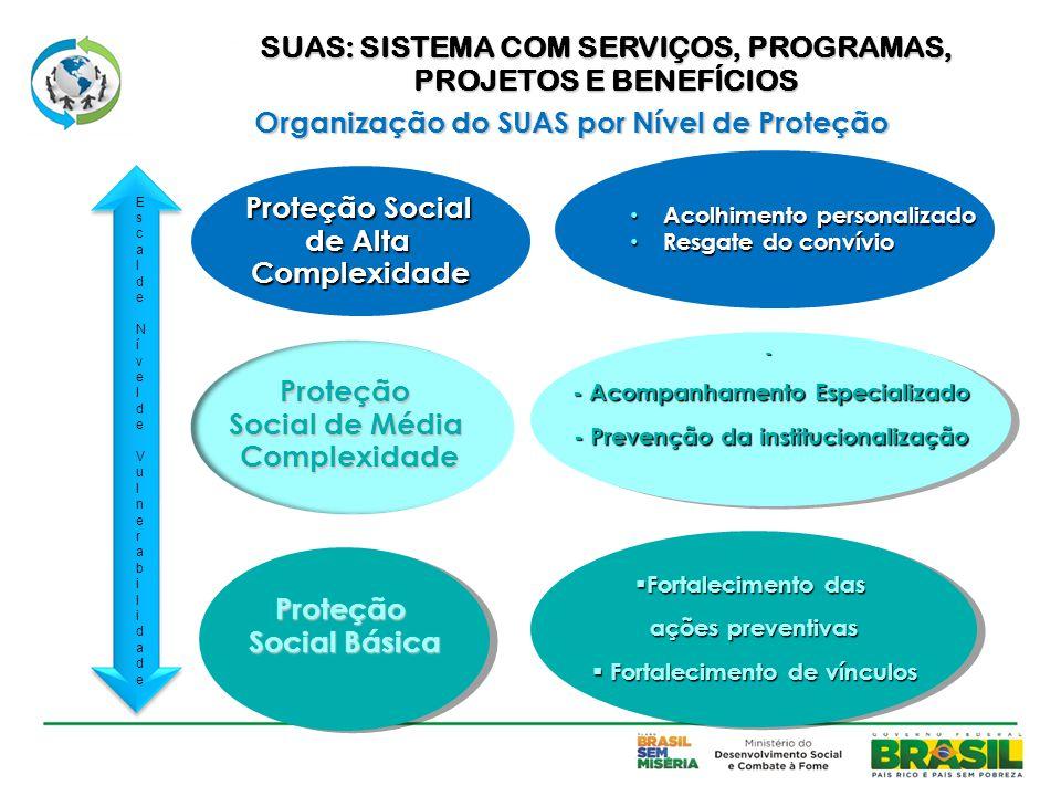 Proteção Social Básica Proteção Social de Média Complexidade Proteção Social de Alta Complexidade Acolhimento personalizado Acolhimento personalizado