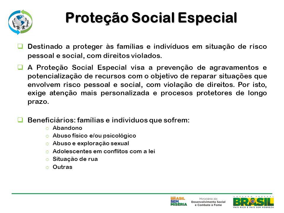  Destinado a proteger às famílias e indivíduos em situação de risco pessoal e social, com direitos violados.  A Proteção Social Especial visa a prev