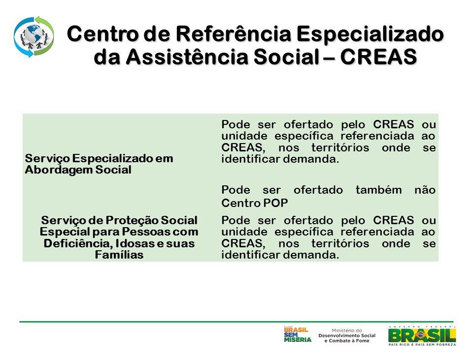 Serviço Especializado em Abordagem Social Pode ser ofertado pelo CREAS ou unidade específica referenciada ao CREAS, nos territórios onde se identifica