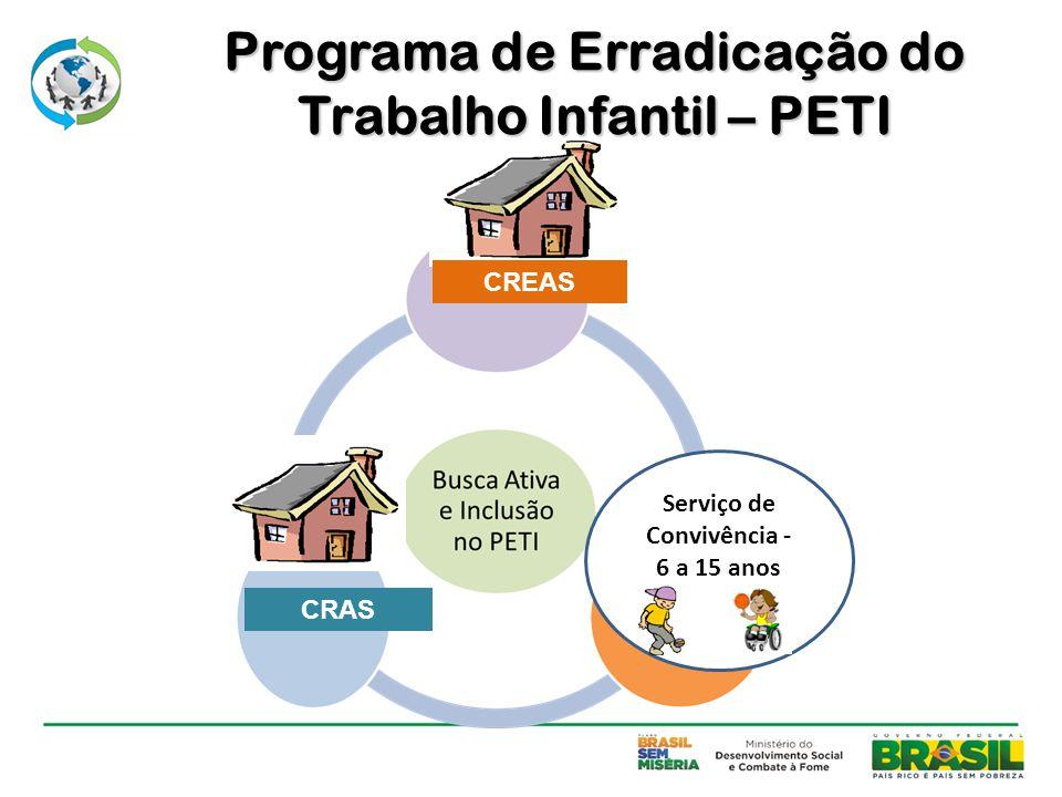 CREAS CRAS Serviço de Convivência - 6 a 15 anos Programa de Erradicação do Trabalho Infantil – PETI