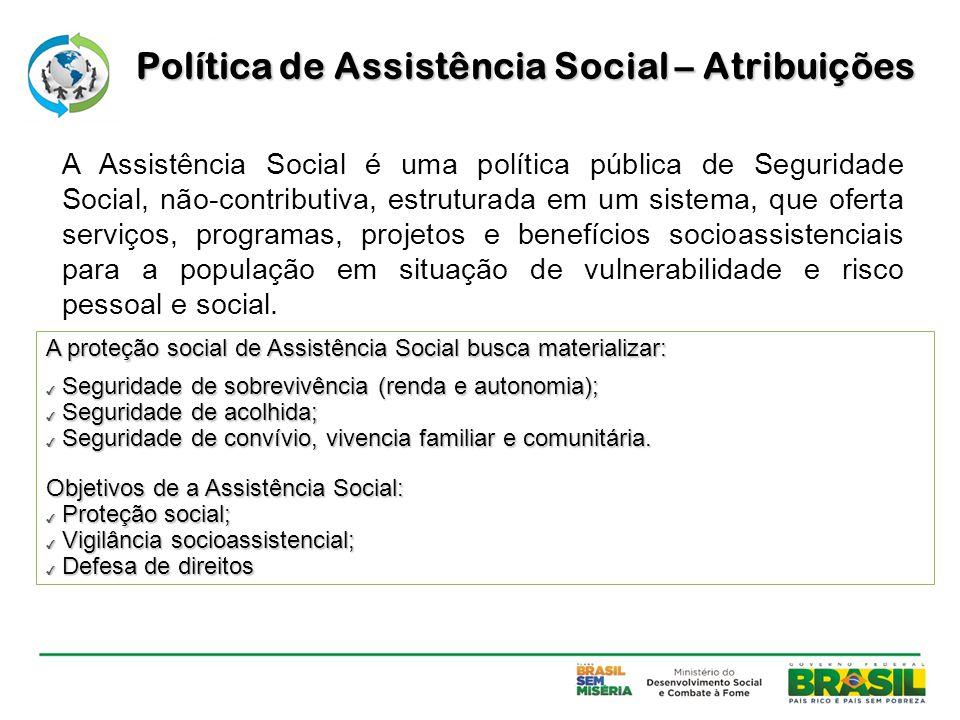 A Assistência Social é uma política pública de Seguridade Social, não-contributiva, estruturada em um sistema, que oferta serviços, programas, projeto