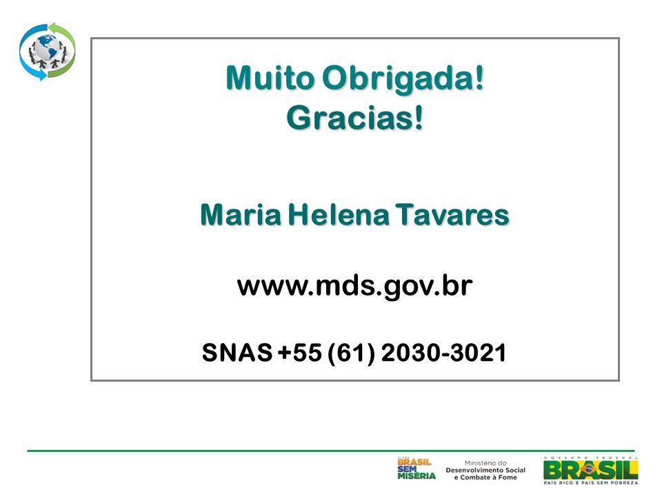 Muito Obrigada! Gracias! Maria Helena Tavares Maria Helena Tavares www.mds.gov.br SNAS +55 (61) 2030-3021