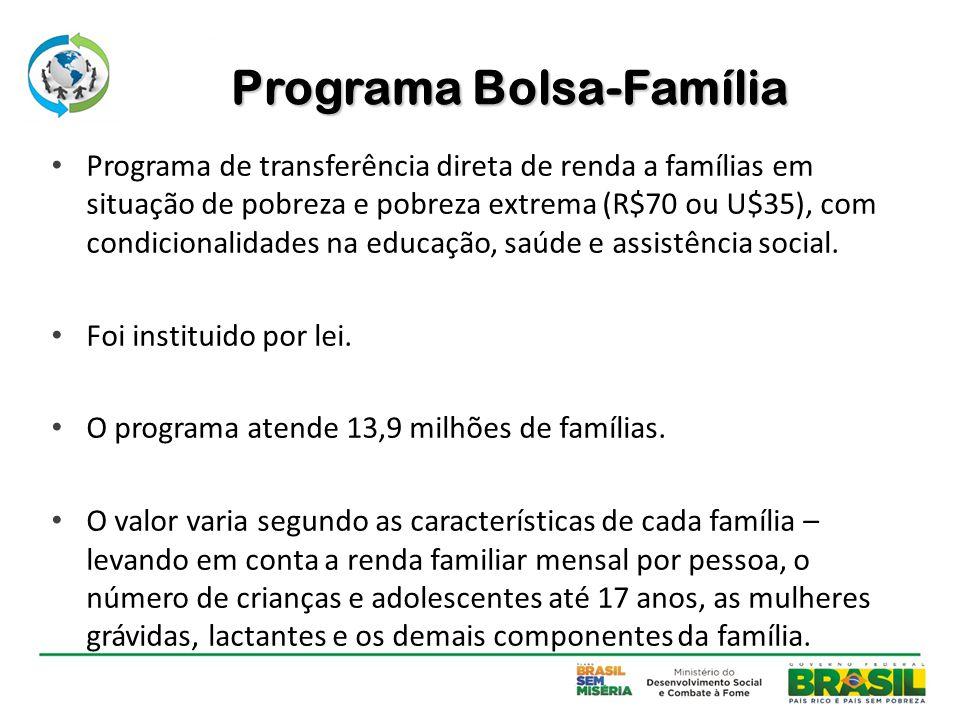 Programa Bolsa-Família Programa de transferência direta de renda a famílias em situação de pobreza e pobreza extrema (R$70 ou U$35), com condicionalid