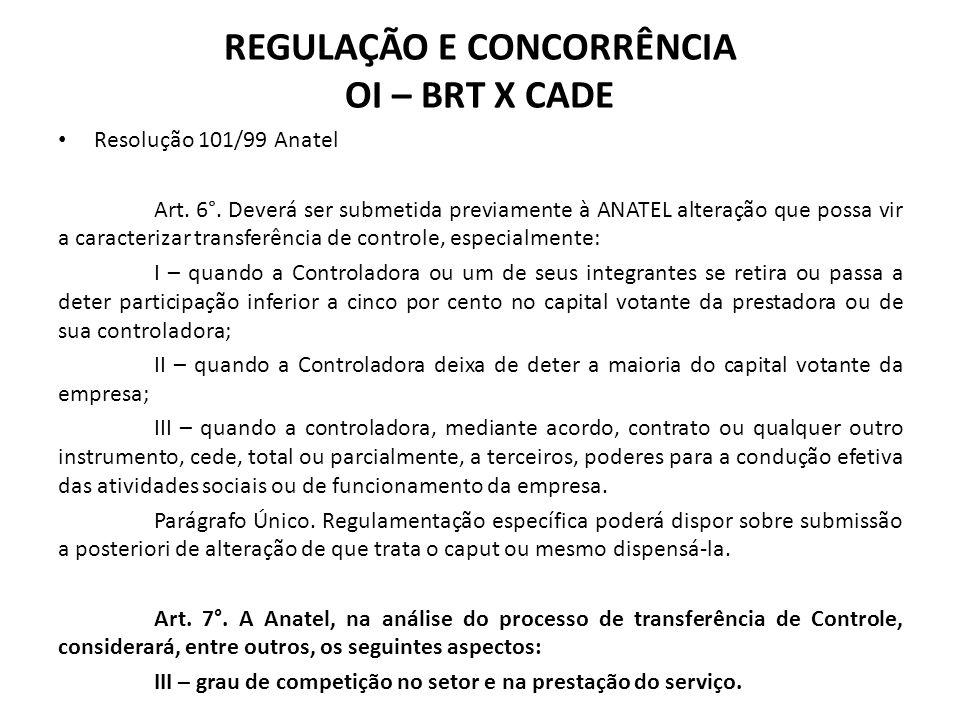 Resolução 101/99 Anatel Art. 6°. Deverá ser submetida previamente à ANATEL alteração que possa vir a caracterizar transferência de controle, especialm
