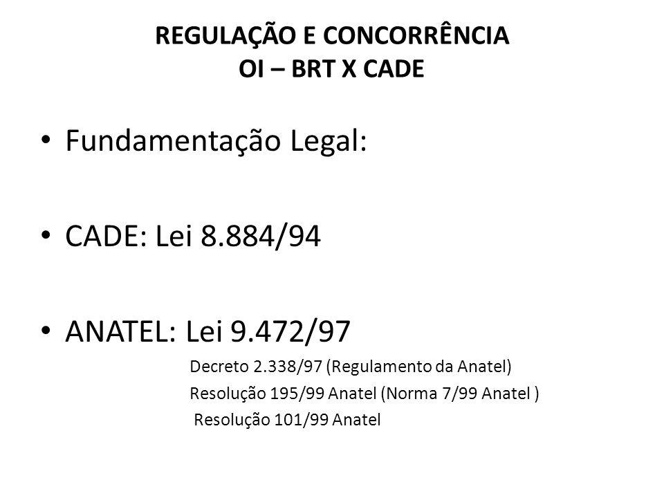 REGULAÇÃO E CONCORRÊNCIA OI – BRT X CADE Fundamentação Legal: CADE: Lei 8.884/94 ANATEL: Lei 9.472/97 Decreto 2.338/97 (Regulamento da Anatel) Resoluç