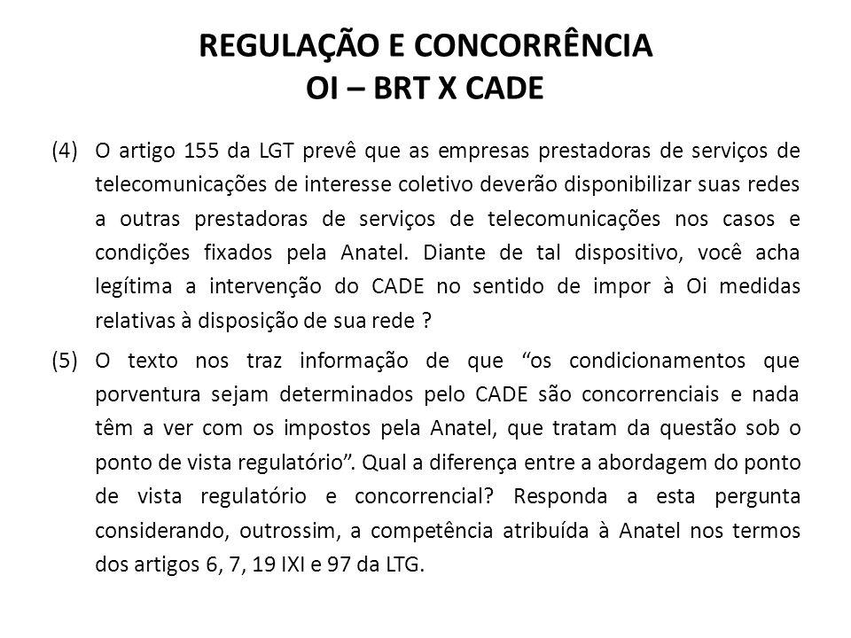REGULAÇÃO E CONCORRÊNCIA OI – BRT X CADE (4) O artigo 155 da LGT prevê que as empresas prestadoras de serviços de telecomunicações de interesse coleti