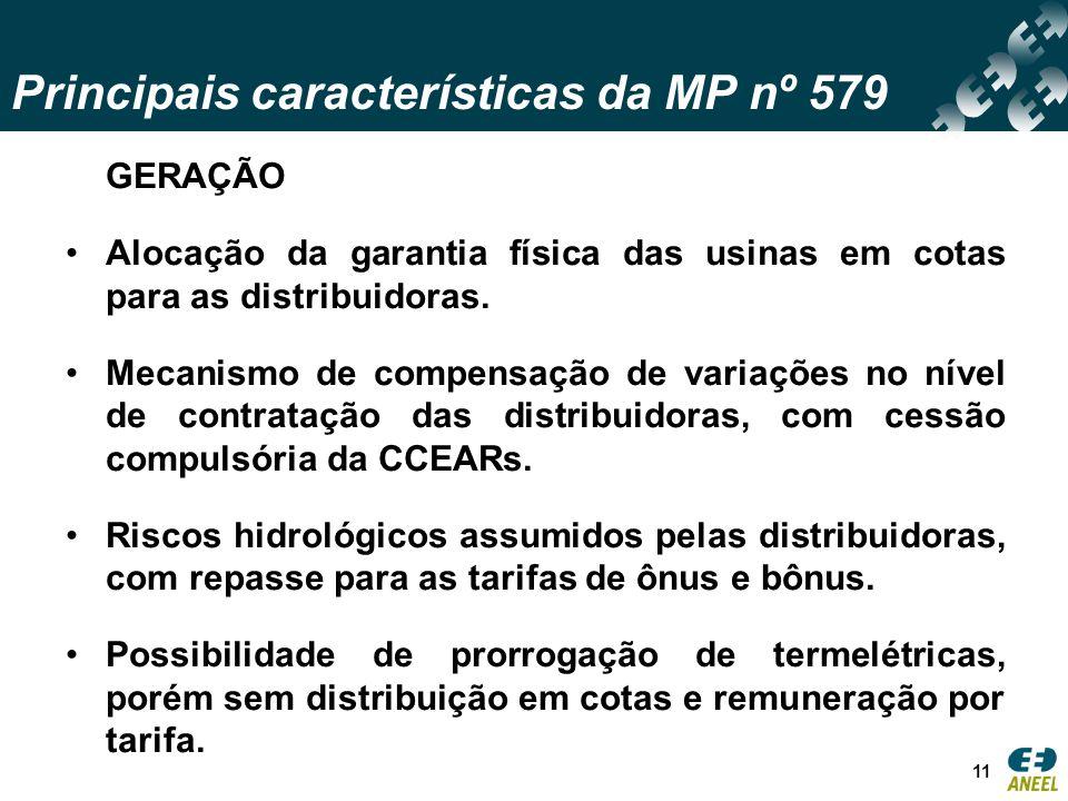 Principais características da MP nº 579 11 GERAÇÃO Alocação da garantia física das usinas em cotas para as distribuidoras.