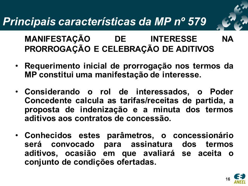 Principais características da MP nº 579 16 MANIFESTAÇÃO DE INTERESSE NA PRORROGAÇÃO E CELEBRAÇÃO DE ADITIVOS Requerimento inicial de prorrogação nos termos da MP constitui uma manifestação de interesse.