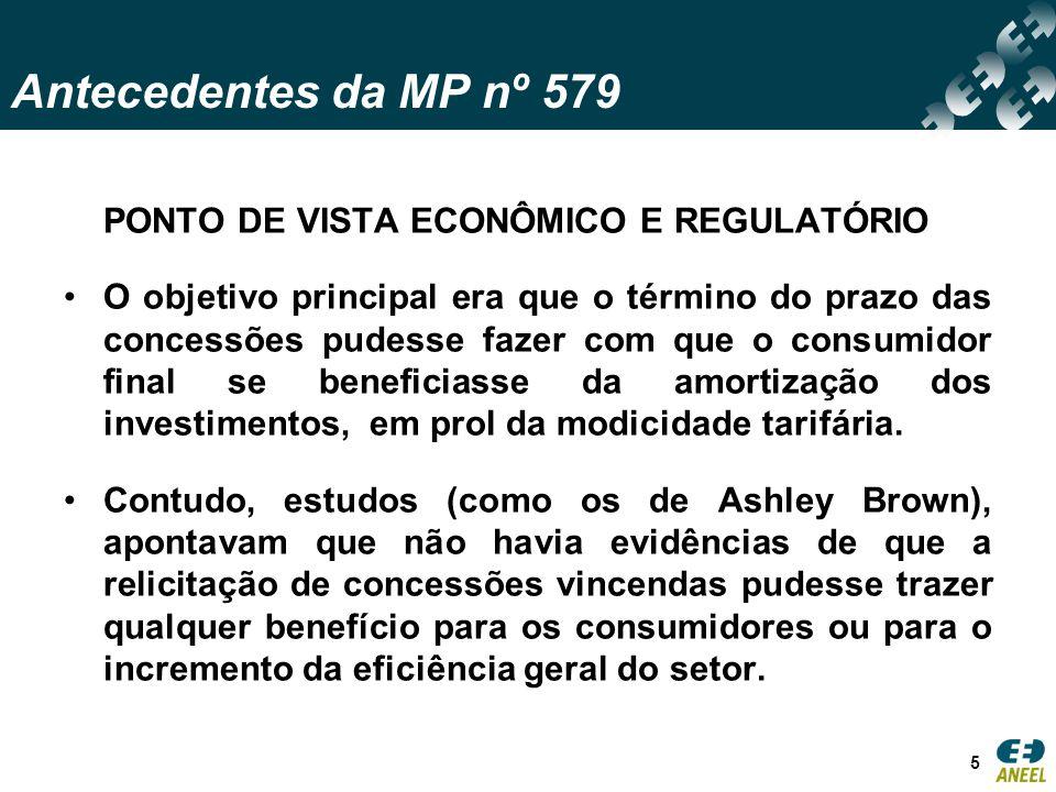 Antecedentes da MP nº 579 PONTO DE VISTA ECONÔMICO E REGULATÓRIO O objetivo principal era que o término do prazo das concessões pudesse fazer com que o consumidor final se beneficiasse da amortização dos investimentos, em prol da modicidade tarifária.