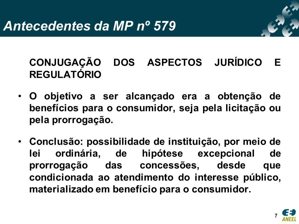 Antecedentes da MP nº 579 CONJUGAÇÃO DOS ASPECTOS JURÍDICO E REGULATÓRIO O objetivo a ser alcançado era a obtenção de benefícios para o consumidor, seja pela licitação ou pela prorrogação.