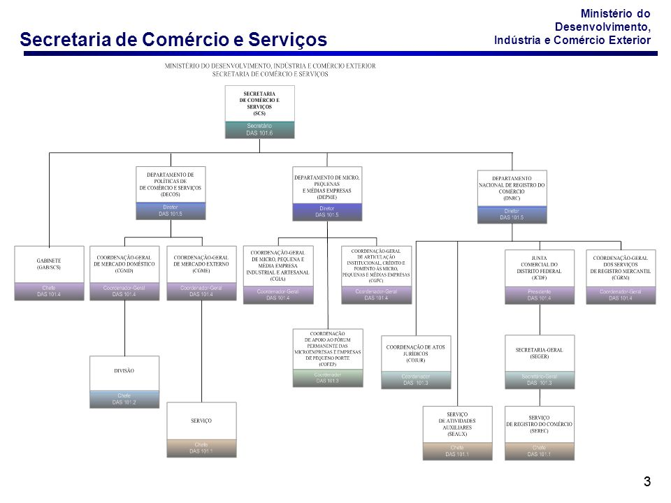Secretaria de Comércio e Serviços Ministério do Desenvolvimento, Indústria e Comércio Exterior 44 Principais Atribuições da SCS Relacionadas a Serviços Formulação, implementação e avaliação de políticas públicas para o desenvolvimento dos setores de comércio e serviços.
