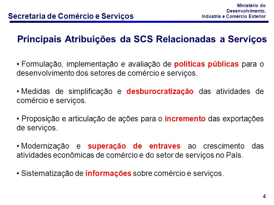 Secretaria de Comércio e Serviços Ministério do Desenvolvimento, Indústria e Comércio Exterior 15 Fonte: Banco Central do Brasil - Elaboração: DECOS/ SCS * Os dados acima referem-se às Receitas e Despesas da Conta de Serviços do Balanço de Pagamento deduzidos da Conta de Serviços Governamentais, conforme definido pelo Manual de Estatísticas do Comércio Internacional de Serviços na pág 254 (http://www.desenvolvimento.gov.br/sitio/interna/interna.php?area=4&menu=1764 BALANÇA BRASILEIRA DE COMÉRCIO EXTERIOR DE SERVIÇOS – Janeiro/Dezembro – 2009 – US$ Bilhões 20082009 Exporta ç ão de bens (1)/ Goods Exports 197,9153,0-22,7% Exporta ç ão de servi ç os (2)/ Services Exports 28,826,3-8,8% (2)/(1)14,6%17,2% Importa ç ão de bens (3)/ Goods Imports 173,2127,6-26,3% Importa ç ão de servi ç os (4)/ Services Imports 44,444,1-0,7% (4)/(3)25,6%34,5% Δ % 2009/2008