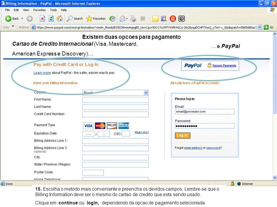 Cartao de Credito Internacional (Visa, Mastercard, American Express e Discovery)… 15.