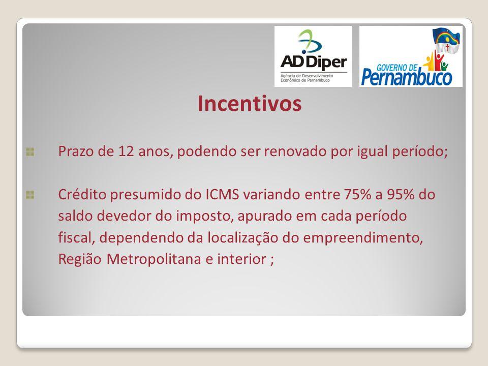 Incentivos Prazo de 12 anos, podendo ser renovado por igual período; Crédito presumido do ICMS variando entre 75% a 95% do saldo devedor do imposto, a