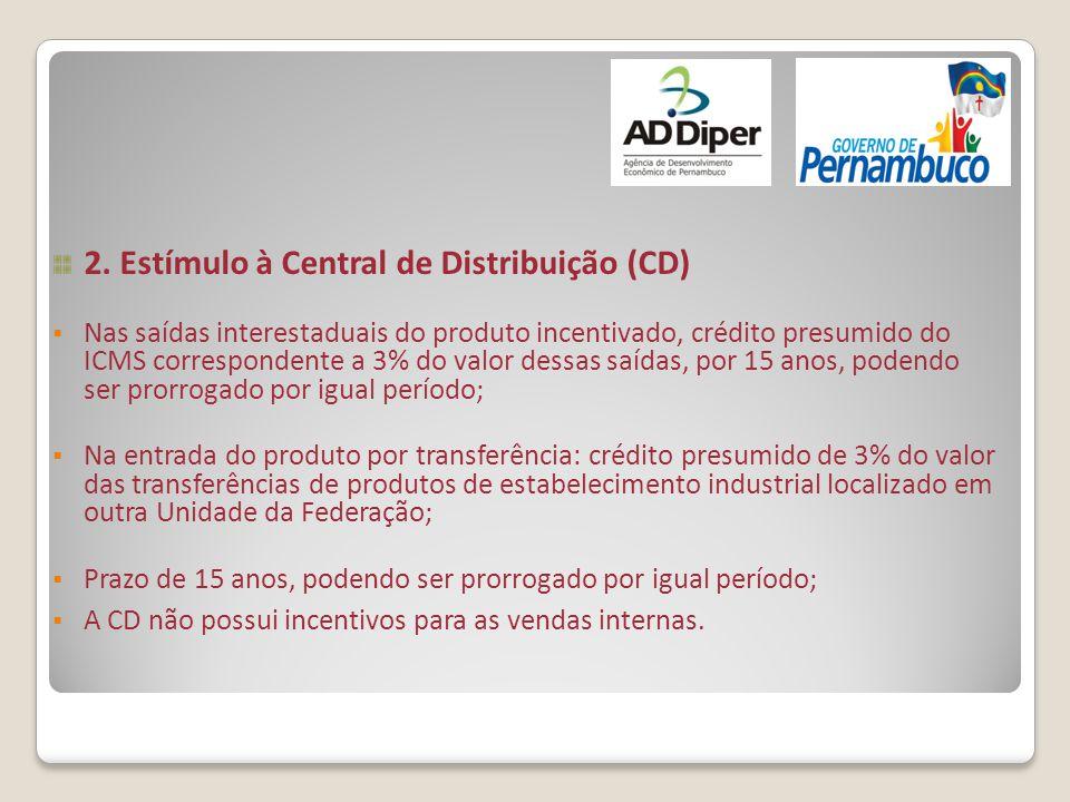 2. Estímulo à Central de Distribuição (CD)  Nas saídas interestaduais do produto incentivado, crédito presumido do ICMS correspondente a 3% do valor