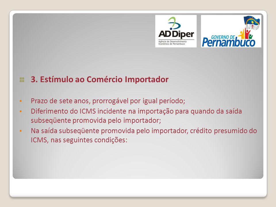 3. Estímulo ao Comércio Importador  Prazo de sete anos, prorrogável por igual período;  Diferimento do ICMS incidente na importação para quando da s