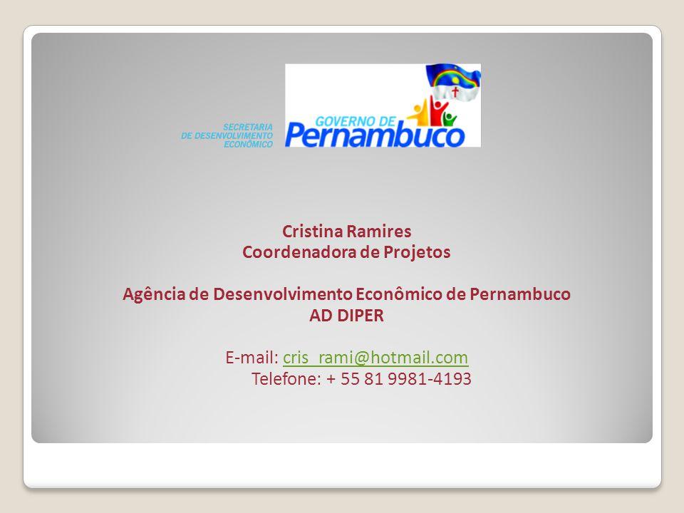 Cristina Ramires Coordenadora de Projetos Agência de Desenvolvimento Econômico de Pernambuco AD DIPER E-mail: cris_rami@hotmail.comcris_rami@hotmail.c